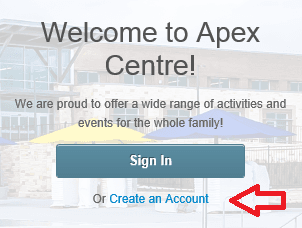 Welcome to Apex Centre screen for first-time visitors