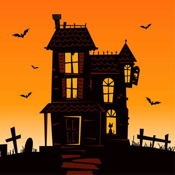 Black silhouette of old two story home - Halloween.
