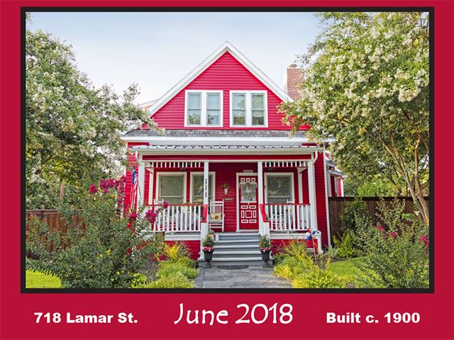 Historic Home Recognition - June 2018 - 718 Lamar St.