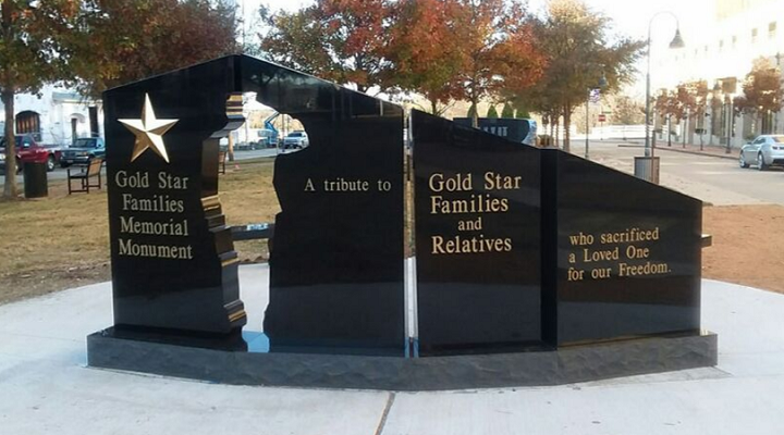 Close up image of Gold Star Memorial at Veterans Park