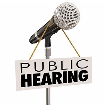 Microphone with text Public Hearing