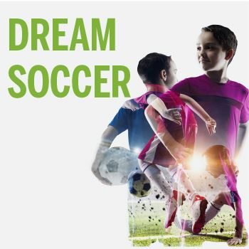 Dream Soccer. Image of two male children holding a soccer ball.