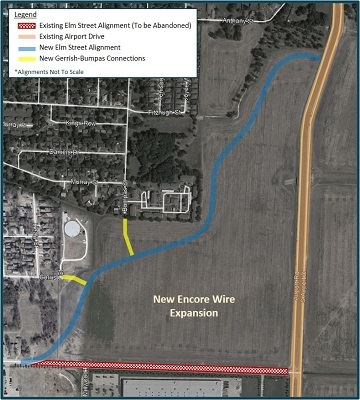 Map of Elm Street Construction Project Links to PDF