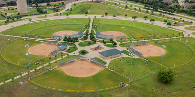 Aerial view of five softball fields