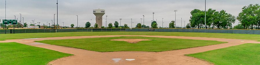Wide angle view of baseball field from homeplate