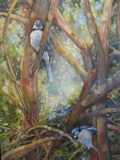 Oil painting - Baby Blues (family of blue jays)